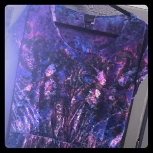 Daytrip Purple/Blue S/S Cinched Waist Top GUC L